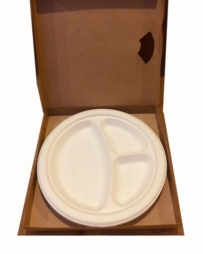 "Plato Redondo con Comp 10""x3 Biodegradable para Alimentos, Pack x10u. Green Commerce"
