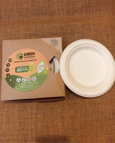 "Plato Redondo 6"" Biodegradable para Alimentos, Pack x10u. Green Commerce"